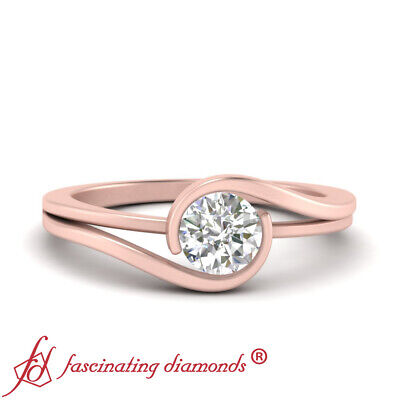 Rose Gold Twisted Solitaire Engagement Ring With 3/4 Carat Round Diamond Center