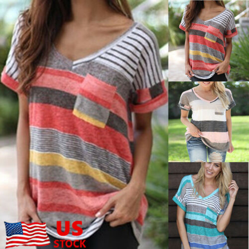 Womens Summer Striped V Neck Blouses Loose Baggy Tops Tunic