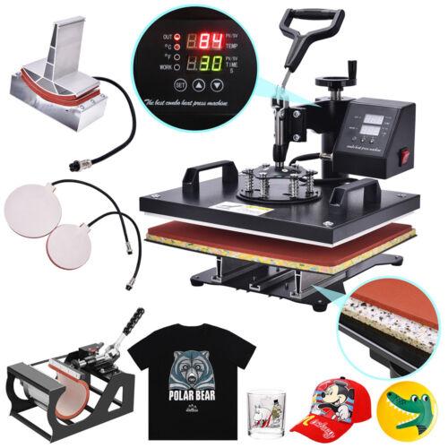 5 In 1 Digital Heat Press Machine Sublimation Fit T-Shirt /Mug/Plate Hat Printer