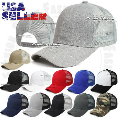 Trucker Hat Baseball Mesh Cap Curved Visor Plain Snapback Adjustable Solid Hats