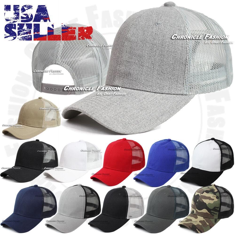 Trucker Hat Baseball Snapback Cap Curved Visor Mesh Plain Ad