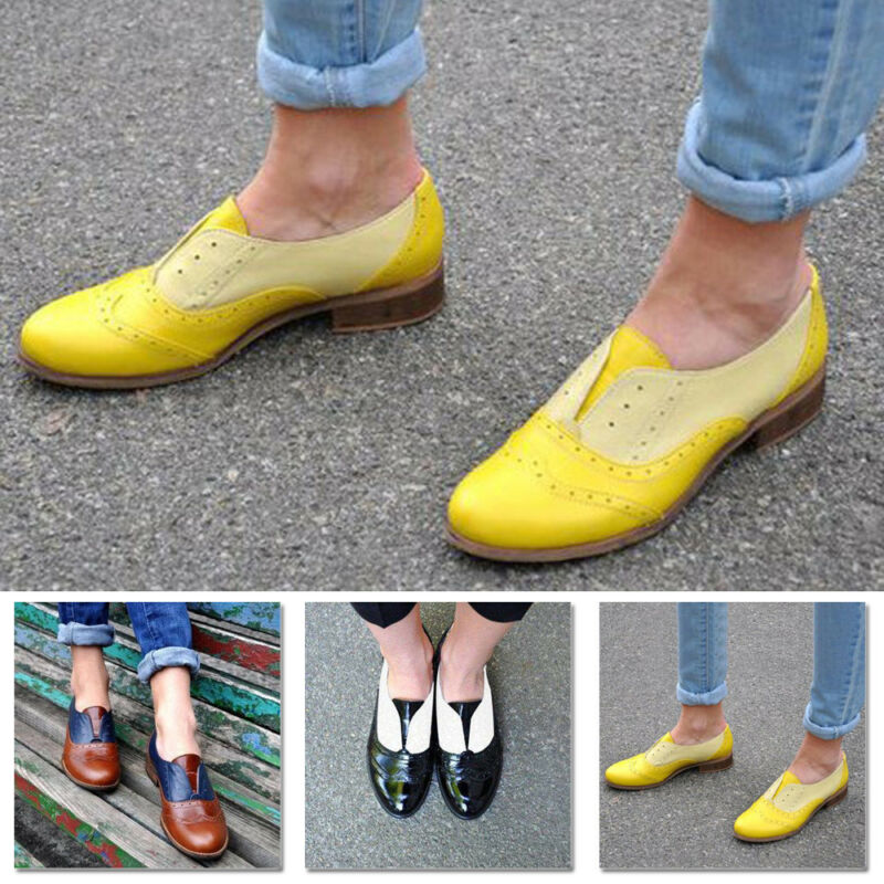 Retro Brogues Wingtip Round Toe Slip On Low Heel Dress Oxfords Shoes Womens NEW