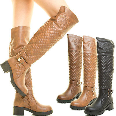 Low Heel Thigh High Boot - Womens Lug Sole Stack Low Heel Flat Over The Knee Thigh High Quilted Riding Boot