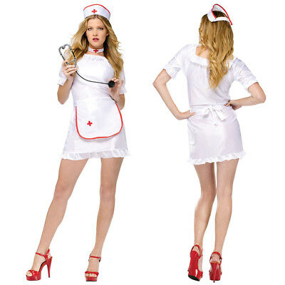 Sexy Nurse Outfit Uniform Costume for Cosplay Halloween Party Nightingale White - Red Nurse Outfit