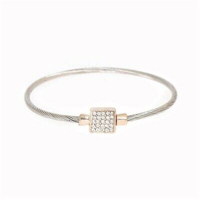 ~Designer Inspired Twisted Cable Bangle Bracelet with CZ Pave Center