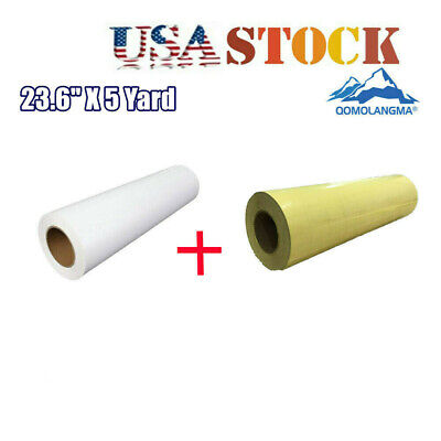 Usa White Eco-solvent Printable Heat Transfer Vinyl With 1 Roll Application Tape