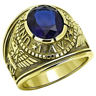 Navy G: Mens US Navy Military Service 316L Steel & IP 14K Gold - Military Service Rings