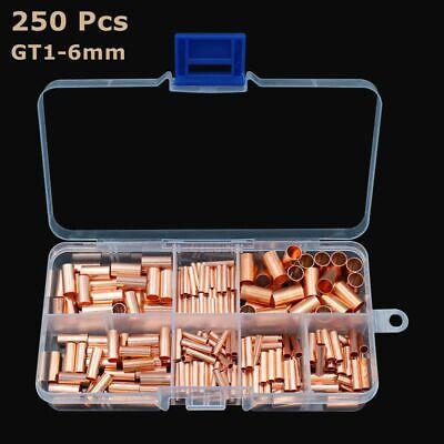 250pcs Gt1-6mm Copper Tube Butt Wire Ferrule Cable Crimp Connectors Terminal Kit