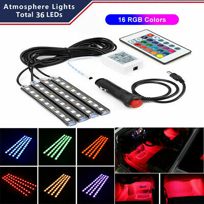 Car Accessories Decorative RGB Lights Interior Multicolor Foot Mood Light 4pcs