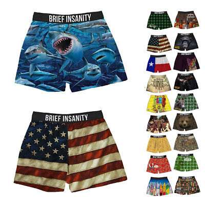 Funny Boxers Underwear (Brief Insanity Funny Novelty Boxer Shorts Soft Silky Underwear Mens Women)