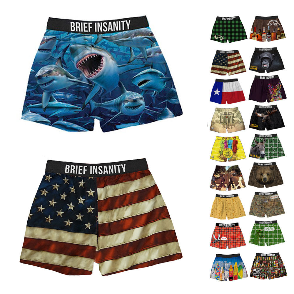 Brief Insanity Funny Novelty Boxer Shorts Soft Silky Underwe