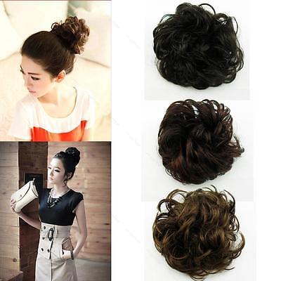 Women Synthetic Fiber PonyTail Hair Bun APLE Hairpiece Hair Extension Scrunchie