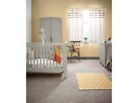 mamas and papas mia sleigh 3 piece nursery furniture set, pebble grey