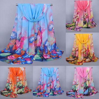 Women Floral Pretty Long Soft Chiffon Scarf Ladies Wrap Shawl Stole Scarves Hot