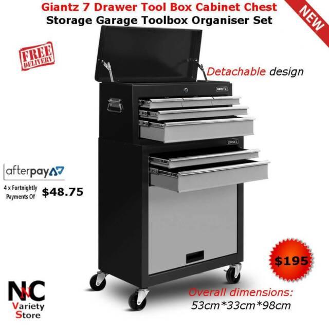 Giantz 7 Drawer Tool Box Cabinet Chest Storage Garage Toolbox Org