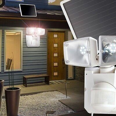 LED Solar Strahler Wand Außen Spot Haus Leuchte Bewegungsmelder 12 m Sensor 180°