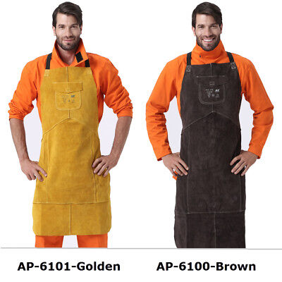 Ap-6100 42 Full Cowhide Leather Welding Bib Blacksmith Apron W Pocket 2 Colors