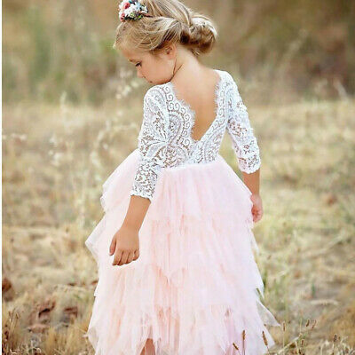 Lace Flower Girl Pageant Birthday Party Princess Bridesmaid Wedding Dress Size 8](Party Birthday Girl)