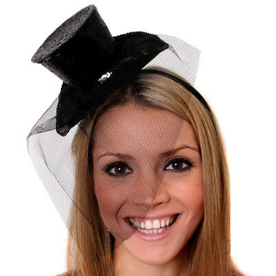 BLACK MINI TOP HAT WITH NET GLITTER FASCINATOR FANCY DRESS ACCESSORY CHRISTMAS