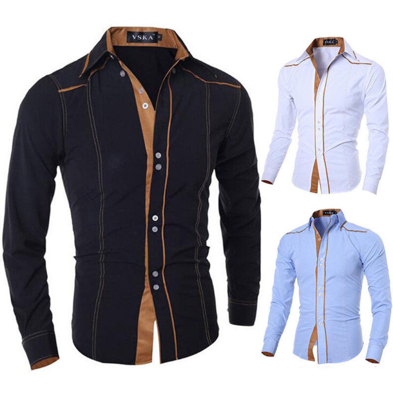 $15.65 - Mens Fashion Luxury Casual Slim Fit Stylish Plaid Dress Shirts Long Sleeve Shirt