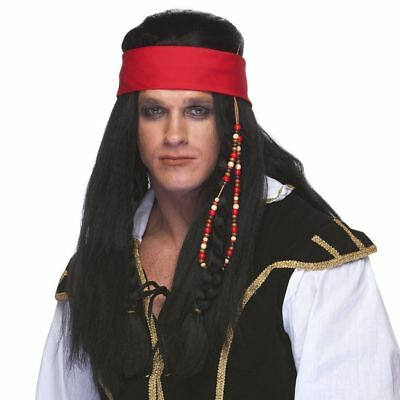 Used, High Quality Black Pirate Wig with Headband Carribean Jack Sparrow Swashbuckler for sale  Rooseveltown
