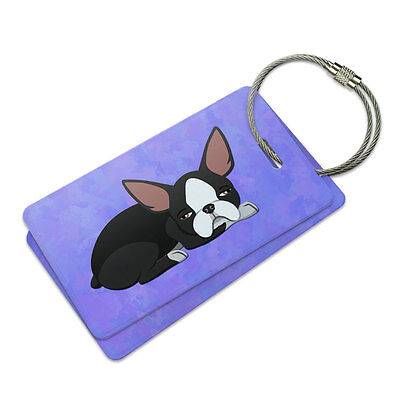 Sleepy Boston Terrier Suitcase Bag ID Luggage Tag Set ()
