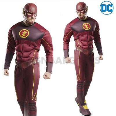 The Flash Mens Adult Super Hero Costume DC Comic Halloween Deluxe Muscle - Super Cheap Halloween Costumes