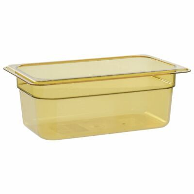 "Cambro H-Pan� 1/4 Size Amber Plastic High Heat Food Pan - 4""D (44HP150)"