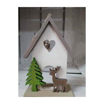 Casetta il legno bianco per albero di natale da addobbi decorazioni natalizi cas
