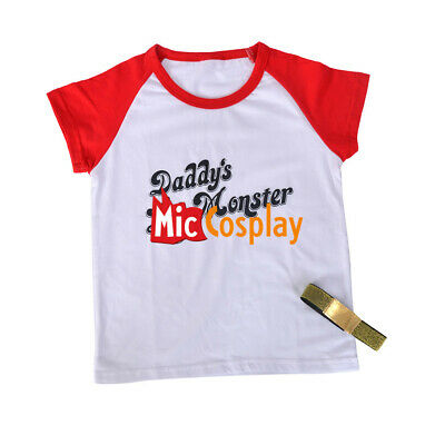 Harley Quinn Girl Red and Blue Dress Costume Top Shirt for Kids