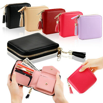 Womens Leather Small Mini Wallet Card Holder Zip Coin Purse Clutch - Small Purse Wallet