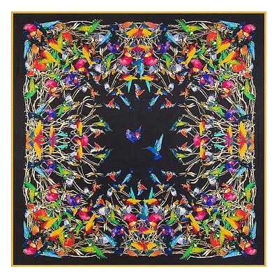 Women's Black Birds Print Twill Silk Head Shawl Fashion Big Square Scarf (Big Square Head)