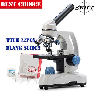 Swift Sw150 40x-1000x Compound Student Microscope Science Lab72pcs Blank Slides