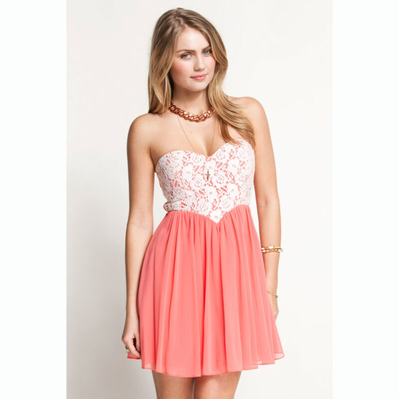 Sweetheart Lace Overlay White & Peach Strapless Party Dress - S M L