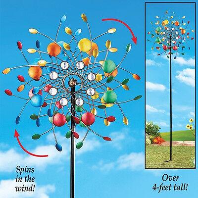 Yard Metal Stake Decoration Garden Kaleidoscope Outdoor Wind Spinners Spin Wheel