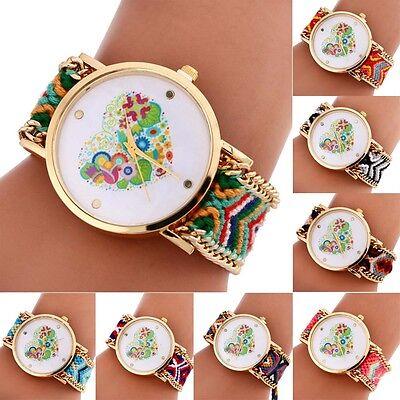 Colorful Love Heart Women Watch Pattern Knitting Dial Quartz Bracelet Watches