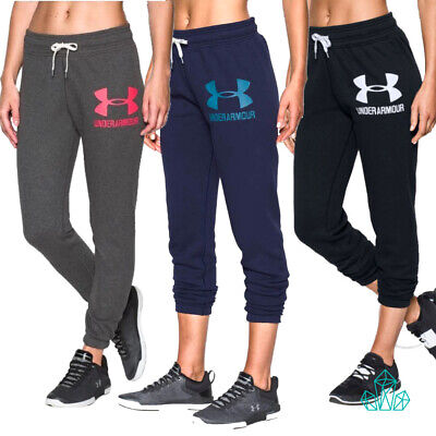 Under Armour Ladies Track Bottoms Fleece Loose Pants Joggers Black Grey