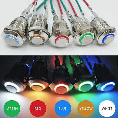 1pc 12mm 5v Waterproof Led Light Metal Momentary Push Button Power Switch Supply