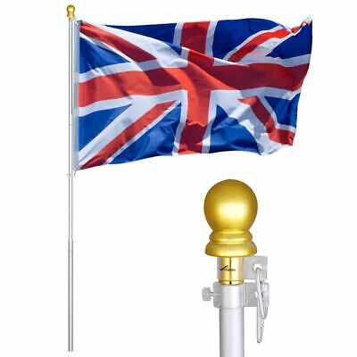 6.5ft 2m UK Flag Kit Aluminum Telescopic Flag Pole Wall Mounted Flagpole Set