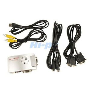 PC Laptop VGA to TV RCA Composite S-video Converter Box