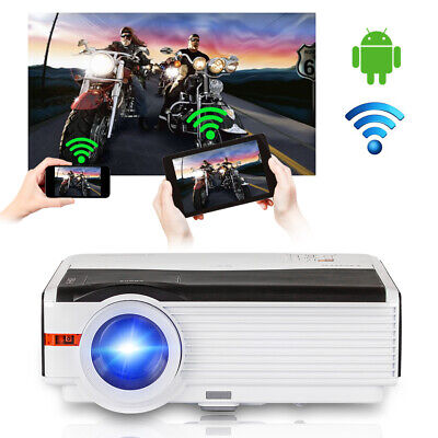 Android Wifi LCD Home Theater Video Projector HD 1080p Game HDMI USB VGA 8000lms