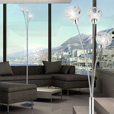 Design Decken Fluter Stand Steh Leuchte Lampe Licht Dimmer Kugeln Kristalle klar