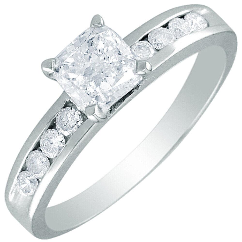 GIA Certified Diamond Engagement Ring 0.98 carat Cushion Cut 14k White Gold