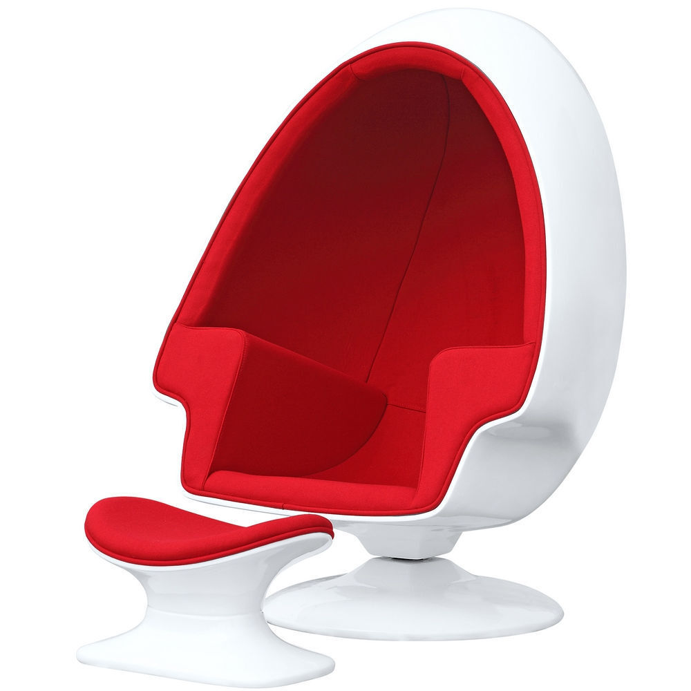 Alpha Egg Chair and Ottoman Red Accent White egg shell Chamb