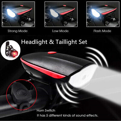 Super Bright USB Led Bike Bicycle Light Rechargeable Headlight Taillight Set US