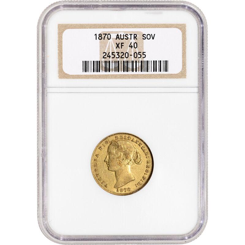 1870 Australia Gold Sovereign - NGC XF40