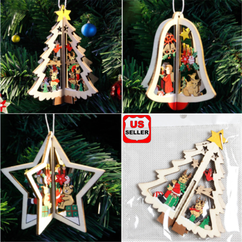 3D Xmas Tree Pendants Hanging Wooden Christmas Decoration Home Party Decor Gift Holiday & Seasonal Décor