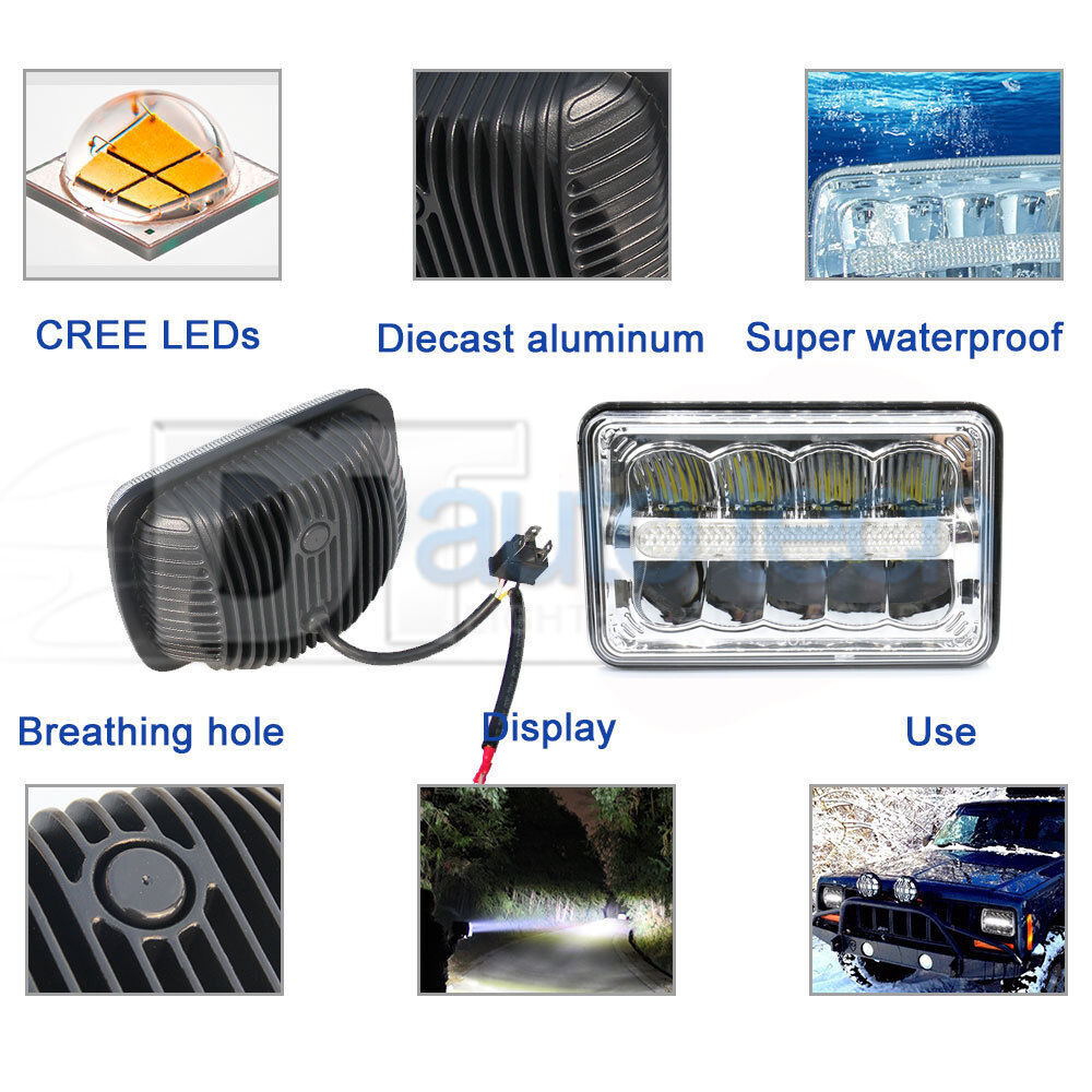 4x6 120w Cree Led Headlights Sealed Beam Clear High Low Drl Headlamps Wiring Diagram 60w Power