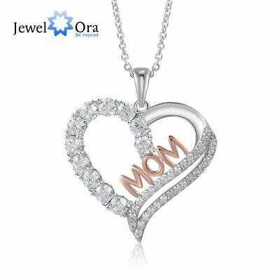 Personalized Mom Necklace Women Pendant Chain 925 Silver Charm Mothers Day -