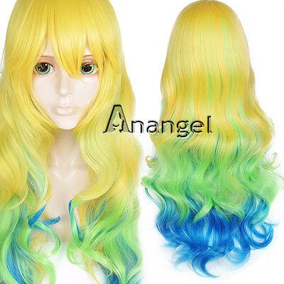 Kobayashi-San Chi No Maid Lucoa Cosplay Wig Yellow Ombre Blue Halloween Hair  - Halloween Maid Hair